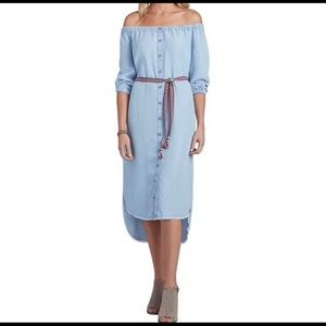 NEW Democracy high low chambray dress off shoulder
